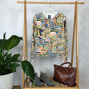 Vintage Lucky Brand Psychedelic Floral Hoodie